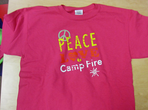 Youth Peace Love and Camp FIre T-Shirt Size MEDIUM