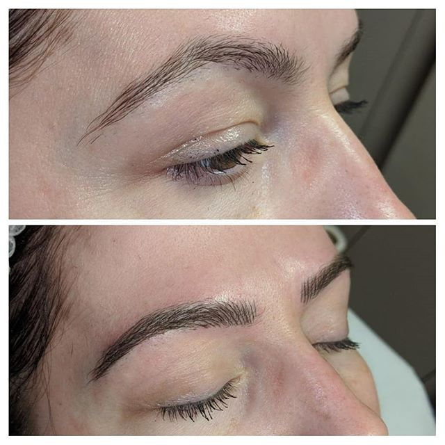 Very natural microblading, creating a be