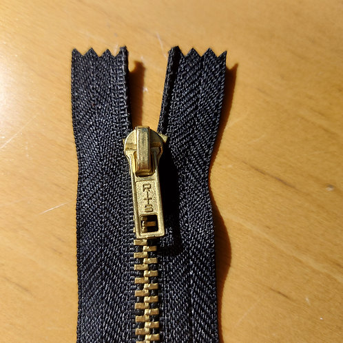 Zwarte metaalrits voor jeans - 20cm