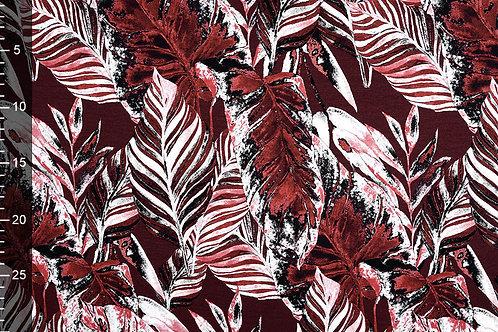 *Bordeaux bladeren - Mi Joe - Viscose jersey digitaal