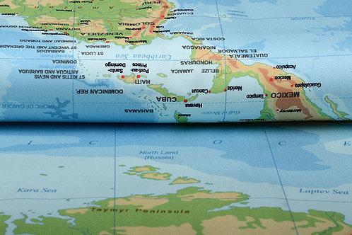*Digitaal paneel wereldkaart - Stretch katoen
