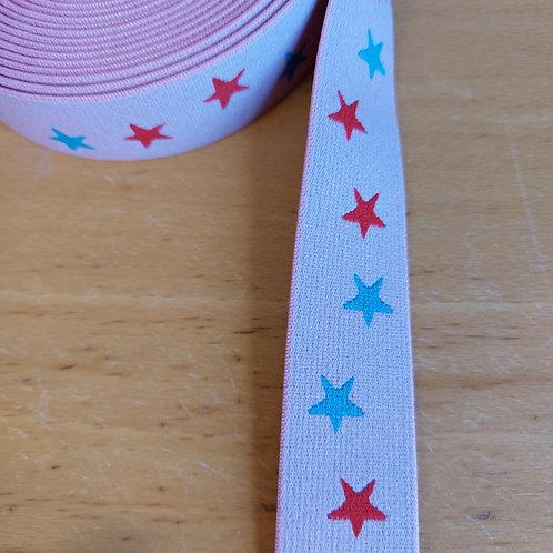 Roze met fushia en turquoise sterren - Elastiek