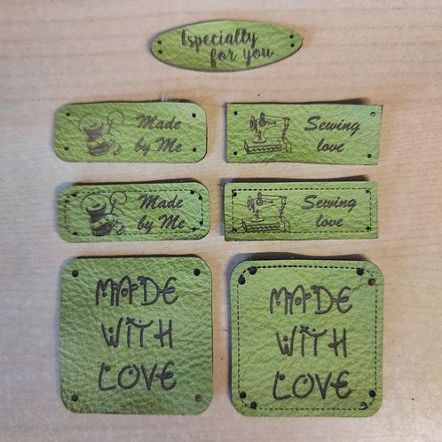 7-delige set leder labels