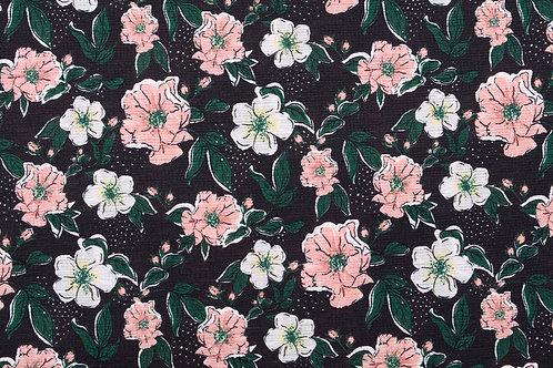 *Bloemen met zwarte ondergrond - Polyamide/Lycra