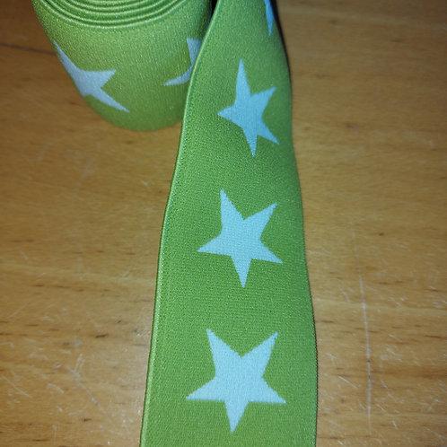 Groen met witte sterren - Elastiek