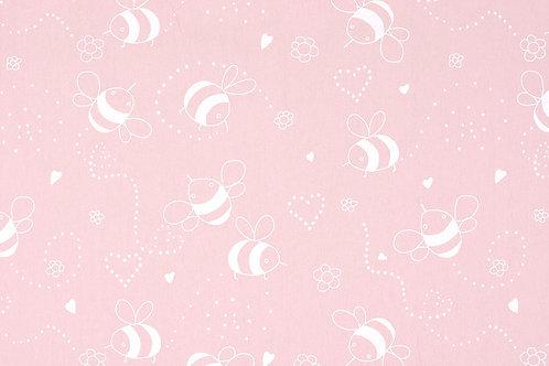 Bijen - Poeder roze - Gewassen katoen