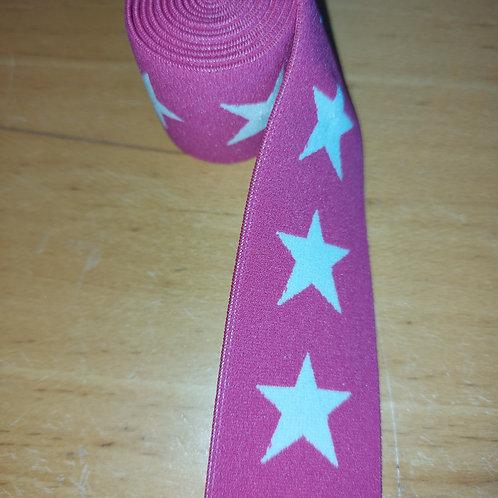 Fushia roze met witte sterren - Elastiek