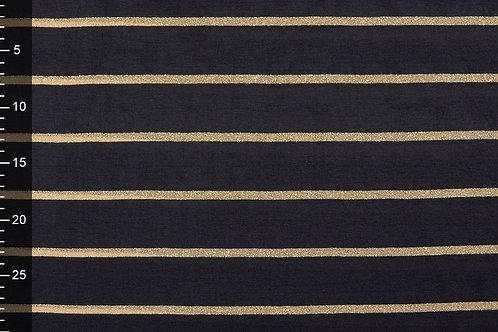 Zwart goud met lurex strepen - Viscose jersey