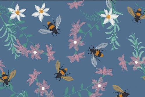 Bijen en bloemen - Megan Blue - Digitale katoen jersey