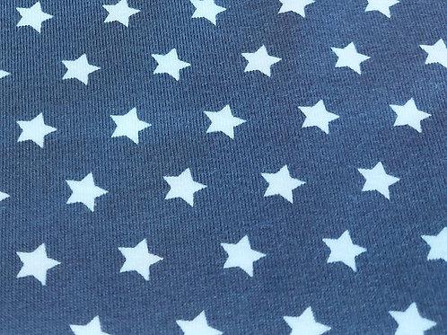 Grijs met witte sterren - Katoen Jersey
