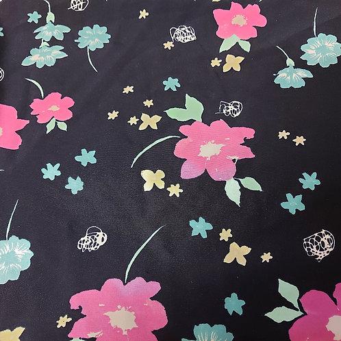 Zwart met bloemen - Viscose