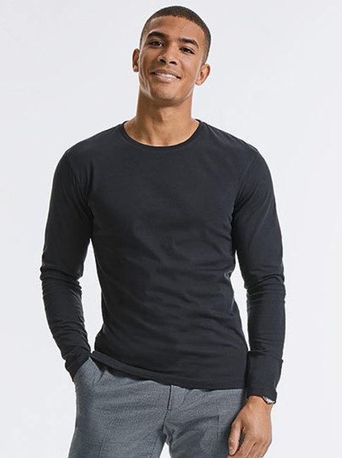 Basic t-shirt lange mouwen - Russel Pure Organic - Te personaliseren naar wens