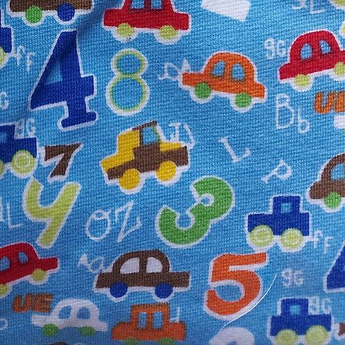 Cijfers, letters, auto's - Katoen jersey