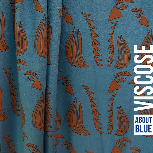 Papegaai - About Blue - Crepe Viscose