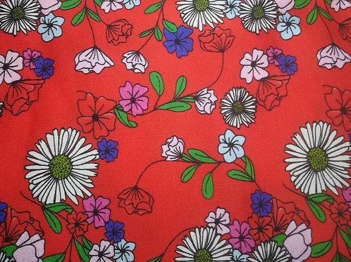 Rood met bloemen - Katoen jersey