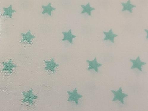 Wit met oud groene sterren - Katoen Poplin