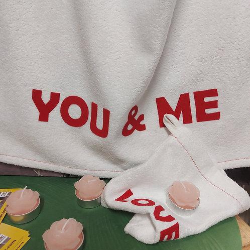 """""""You&Me"""" handdoek met washandje en bloemenkaarsjes"""