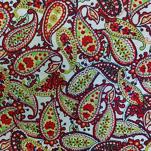 Wit/Rood/Groen - Katoen/Canvas - Paisley