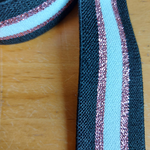 Roze/Wit/Zwart - Lurex elastiek