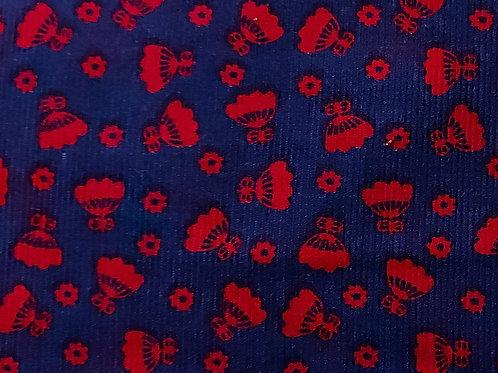 Rood/Blauw - Katoen rib
