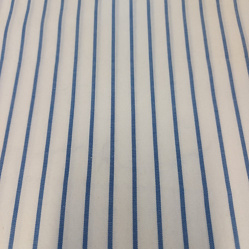 Wit met blauwe streep - Katoen
