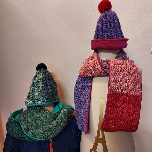 Handgehaakte sjaal met muts - Te personaliseren naar wens