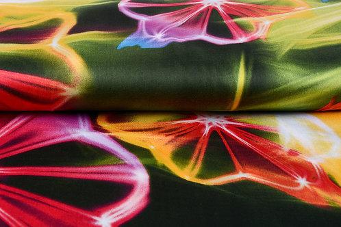 *Neon roze groen - Viscose digitaal print