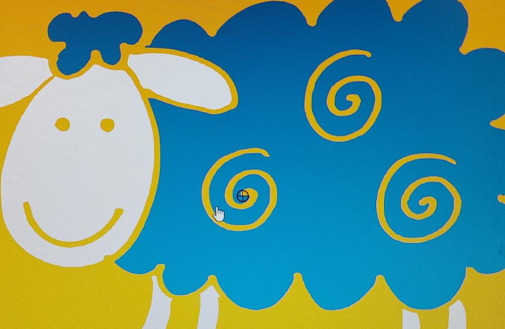 Dit is een foto van mijn eerste tekeninig, het schaap in blauw en witte poten, kop, oren