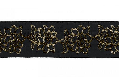 Zwart met gouden lurex elastiek