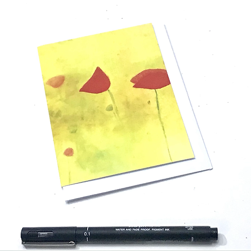 A6 Winter Card-Yellow Poppies