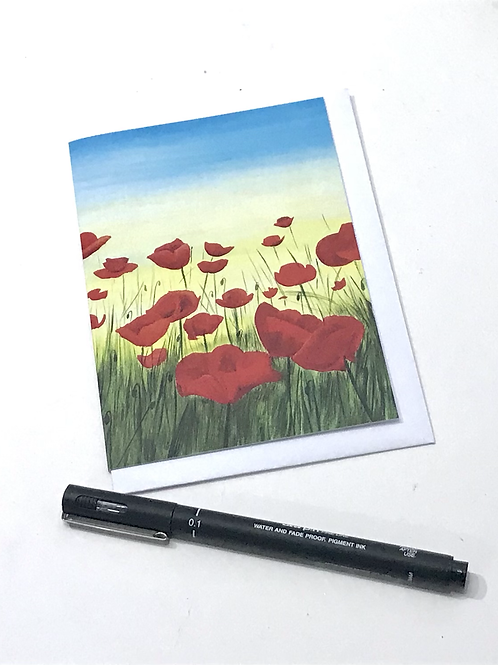 A6 Winter Card-Red Poppies