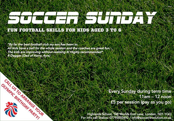 sunday morning soccer for children, weekend football camps for kids, younger kids football, football coaching ages 3-5 london
