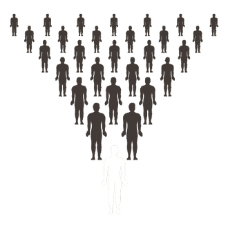 Leadership graphic - one person leading many