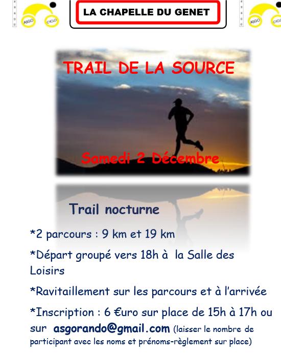 Trail de la source Samedi 2 Décembre