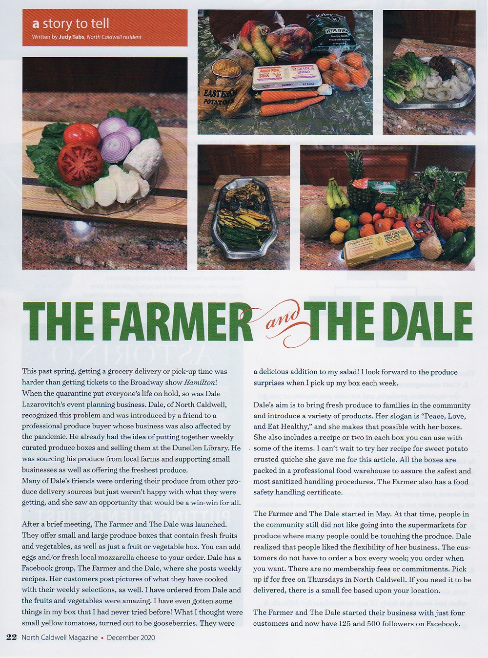 screenshot of article about Box of Farm from North Caldwell Magazine