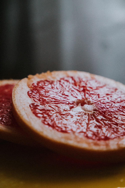close up shot of sliced grapefruit