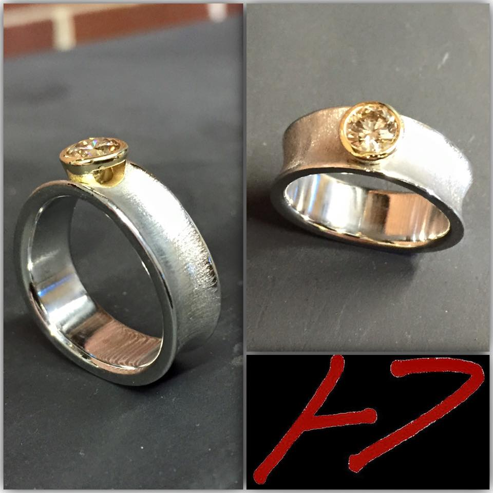 Diamond 22KY Palladium ring