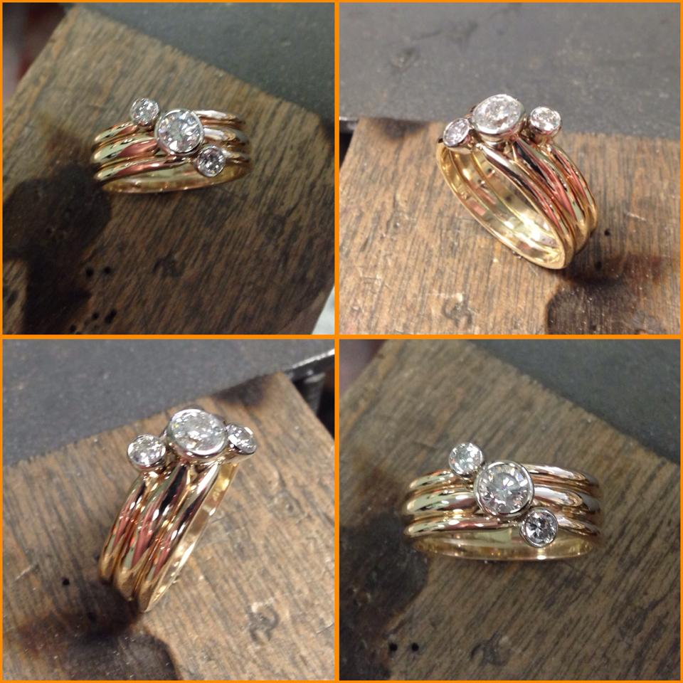 Three stone Ring 14K