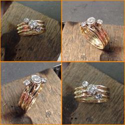 Three stone Ring 14K