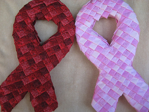 Folded Fabric, No- Sew Ribbon of Hope Pattern, Holiday decoration, Breast Cancer and AIDS Awareness Ribbon