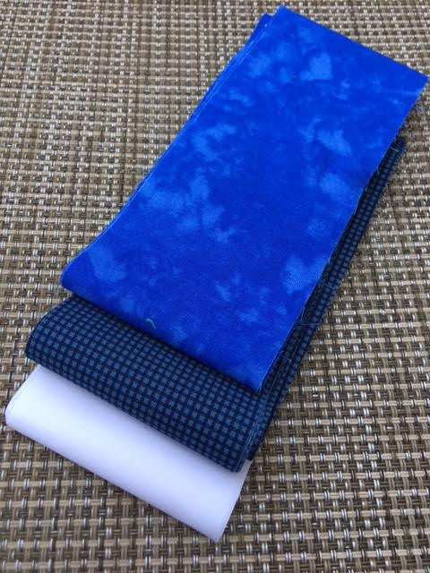 Fabric Mini Jelly Roll.  Navy blue, blue and white colors. 6 Strips of 2.5 inch batik fabric.