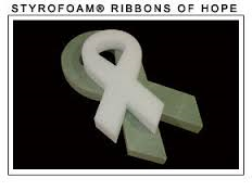 Styrofoam Ribbon of Hope shape. Cancer awareness ribbon.
