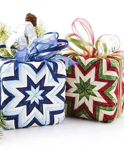 Folded Fabric, No- Sew Gift Box Christmas ornament Pattern, Holiday decoration