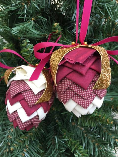 Folded Fabric No Sew Complete Christmas Ornament Kit.  Burgundy and Cream Pinecone kit.