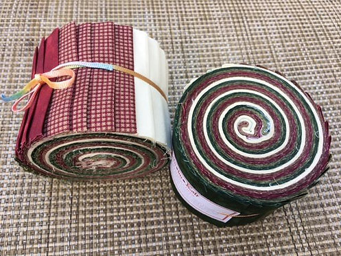 Fabric Jelly Roll, Christmas colors, Burgundy, Green, Cream. 20 Strips of 2.5 inch batik fabric.