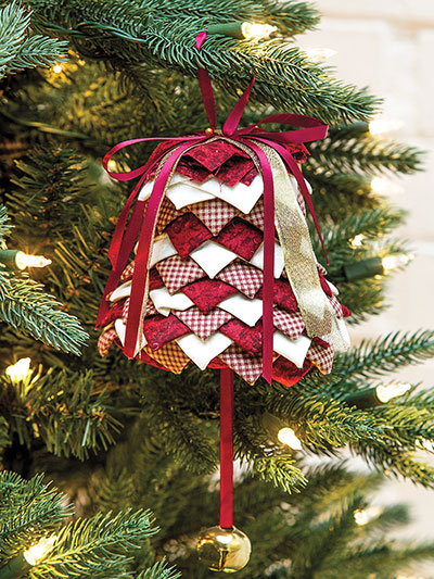Folded fabric bell ornament pattern and kit. No- sew christmas bell ornament. Red and white xmas ornament.