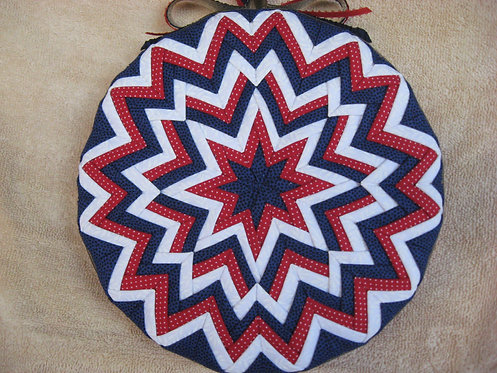 Folded Fabric, No- Sew Bursting Star Pattern, Patriotic, 4th of July Wall Hanging, Red, white and blue Holiday decoration