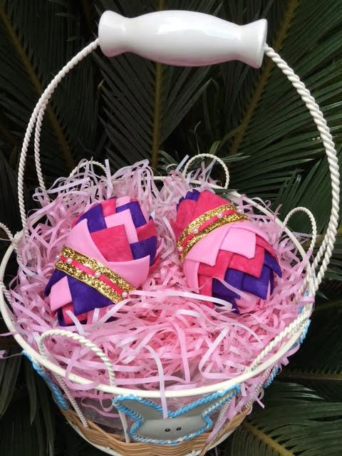 Folded Fabric No Sew Complete Easter Ornament Decoration Kit.  Purple and pink easter egg kit.