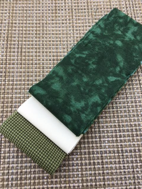 Fabric Mini Jelly Roll, Christmas colors,  Green and Cream. 6 Strips of 2.5 inch batik fabric.