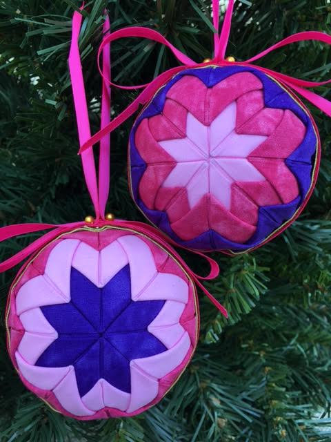 Folded Fabric No Sew Complete Christmas Ornament Kit.  Purple and pink Ball kit.
